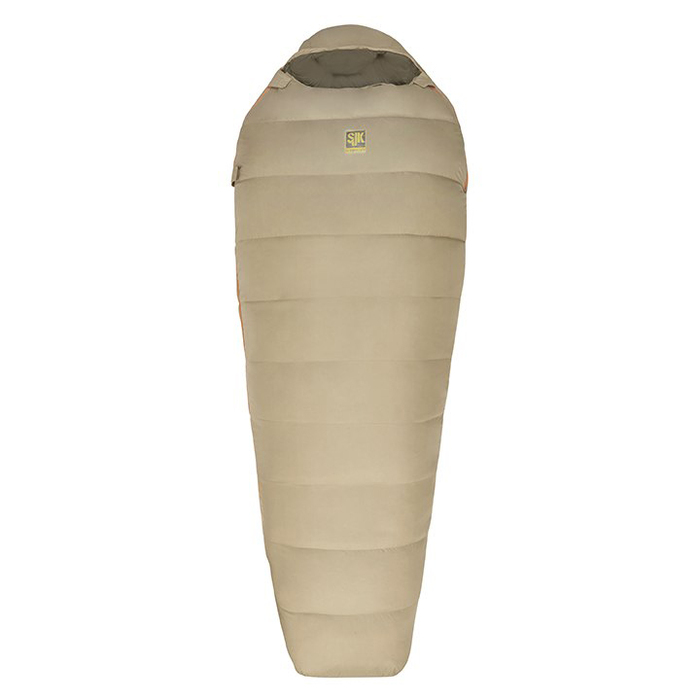 Slumberjack Downwind 0 degree sleeping bag, tan. Fully zipped and closed.