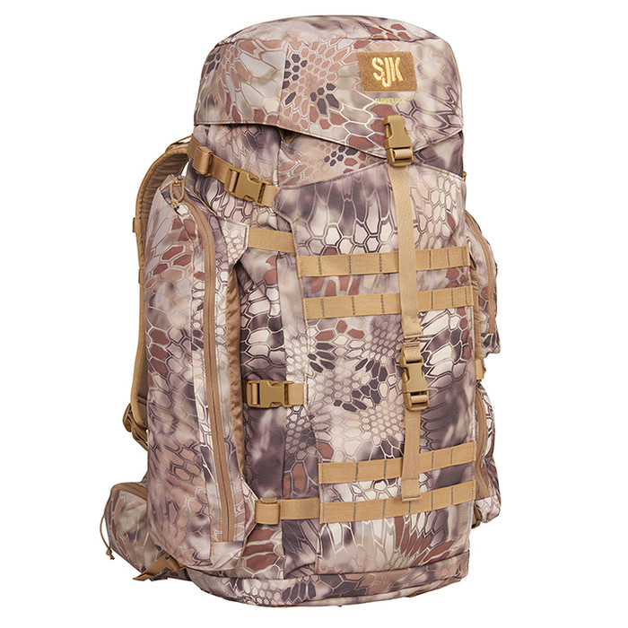 Highlander - Slumberjack Deadfall 65 Liter backpack in Kryptek Highlander camouflage.  Right Side View of pack showing top, side and front of pack pockets.