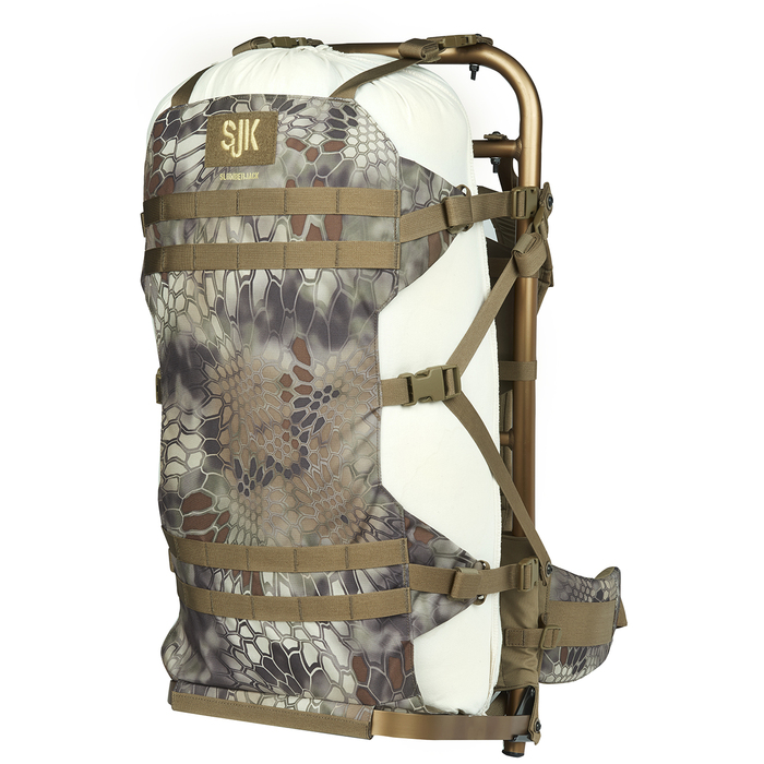 Slumberjack Rail Hauler 2.0 Pack in Kryptek Highlander camo. Image shows pack from the front with a cloth prop inside of it, indicating it can carry a mass between the frame and compression panel.