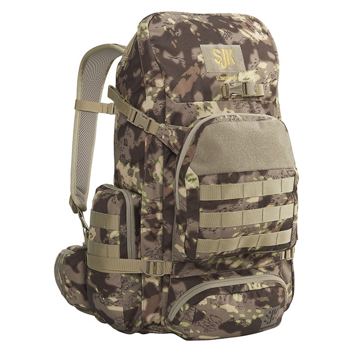 Slumberjack Hone backpack in Disruptive Shadow technology camouflage.  Front View of pack showing top, side and front of pack pockets.