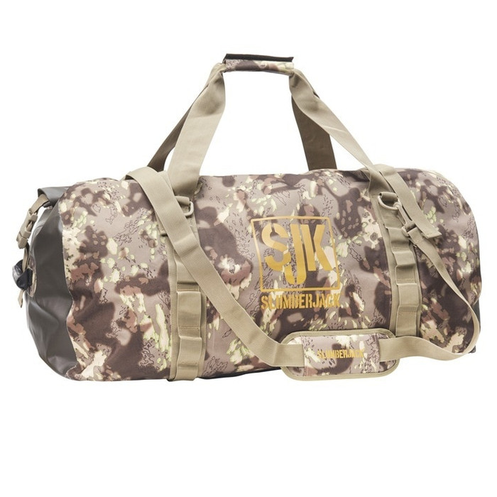 DST - Slumberjack Ransak 70 Duffel Bag in Disruptive Shadow Technology camo. Image is a side shot of the bag with the carry straps lifted above the bag.