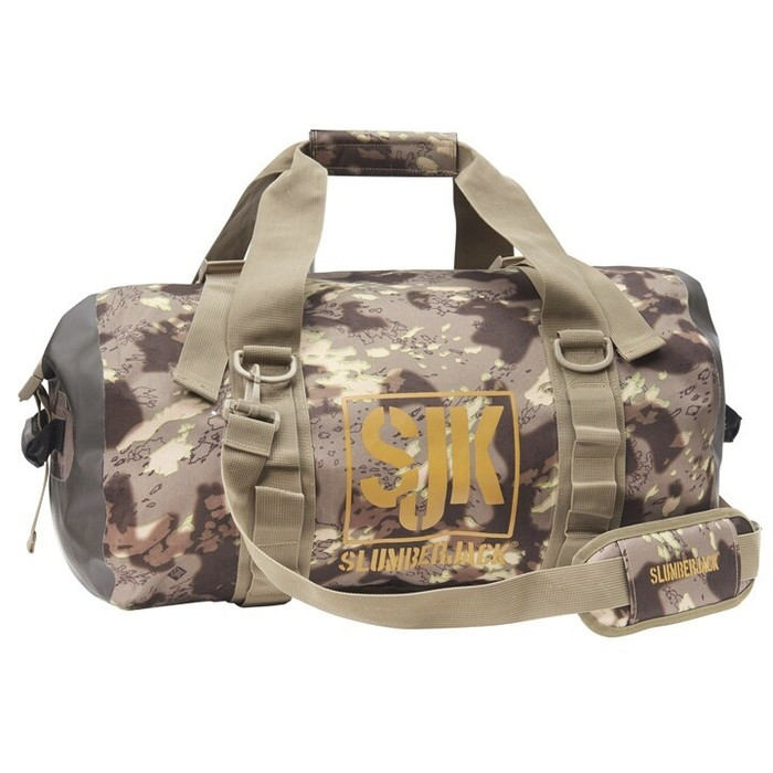 DST - Slumberjack Ransak 40 Duffel Bag in Disruptive Shadow Technology camo. Image is a side shot of the bag with the carry straps lifted above the bag.