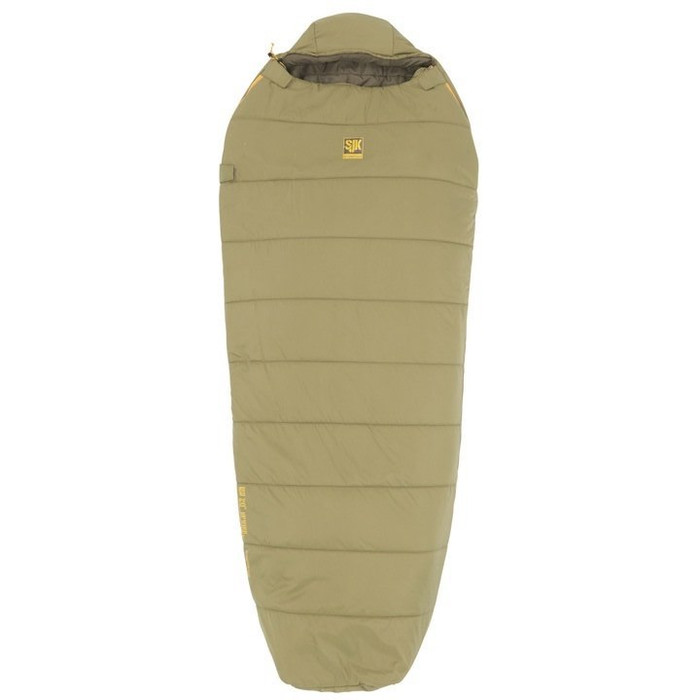 Slumberjack Up Wind 20 Degree Sleeping Bag, Light Olive Green. Front angle of the bag, showing bag fully zipped with small logo centered  on the bag near top opening.