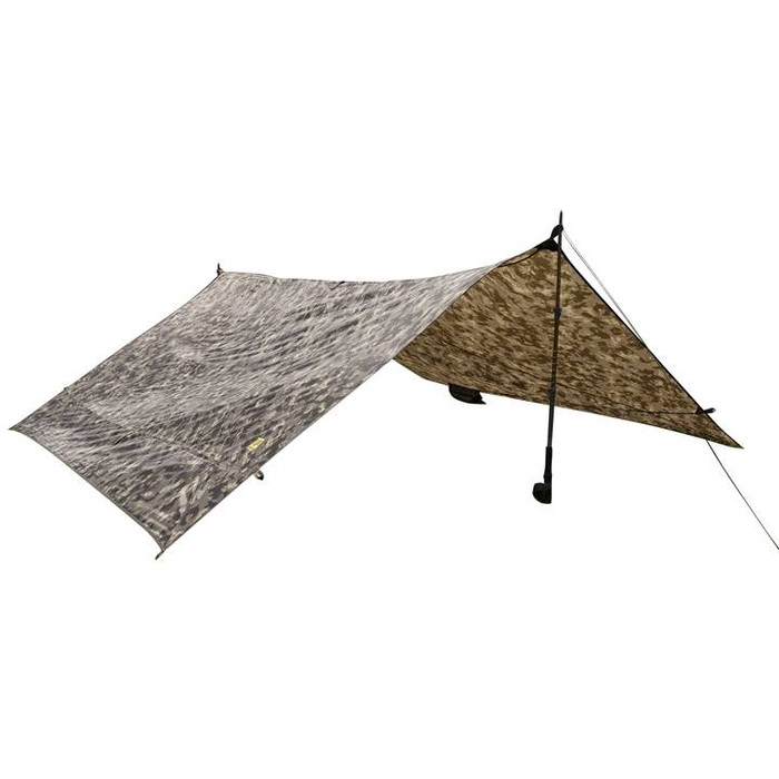 Slumberjack Satellite Tarp XL in  disruptive shadow technology camo. Tarp is shown completely setup using two trekking poles for support.