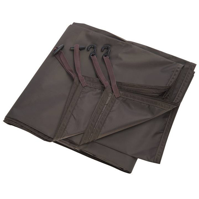 Slumberjack Slumber Shack 4 Person Tent footprint, dark brown. Shown folded up in a rectangle.