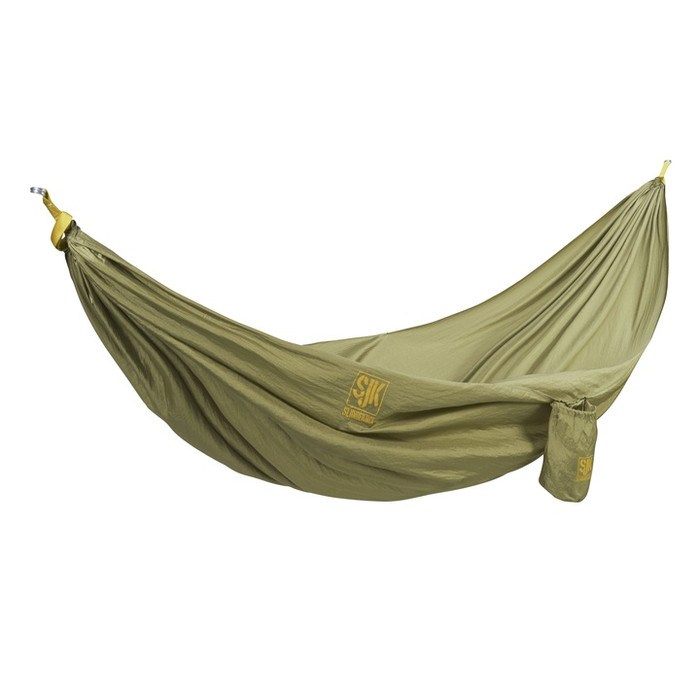 Hover Hammock in olive green. Shown in a hanging position.