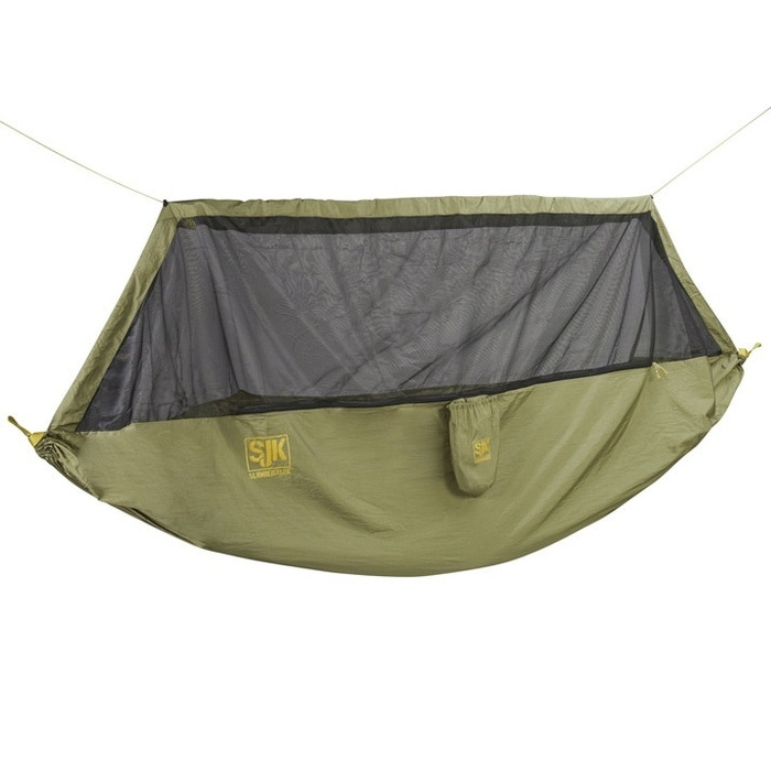 Slumberjack Hover Screen Hammock in olive green with black mesh screen. Show in a horizontal hanging position.