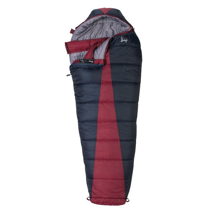 Slumberjack Latitude 0 Degree sleeping bag, black with red accent in center. Shown partially unzipped and open to reveal grey interior.