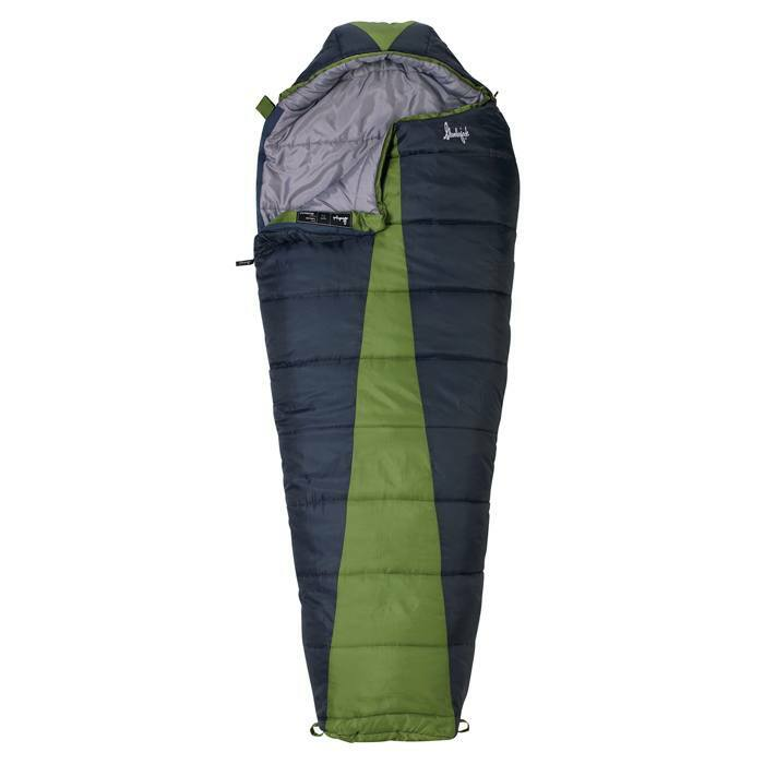 Slumberjack Latitude 20 Degree sleeping bag, dark blue with green accent in center. Shown partially unzipped and open to reveal grey interior.