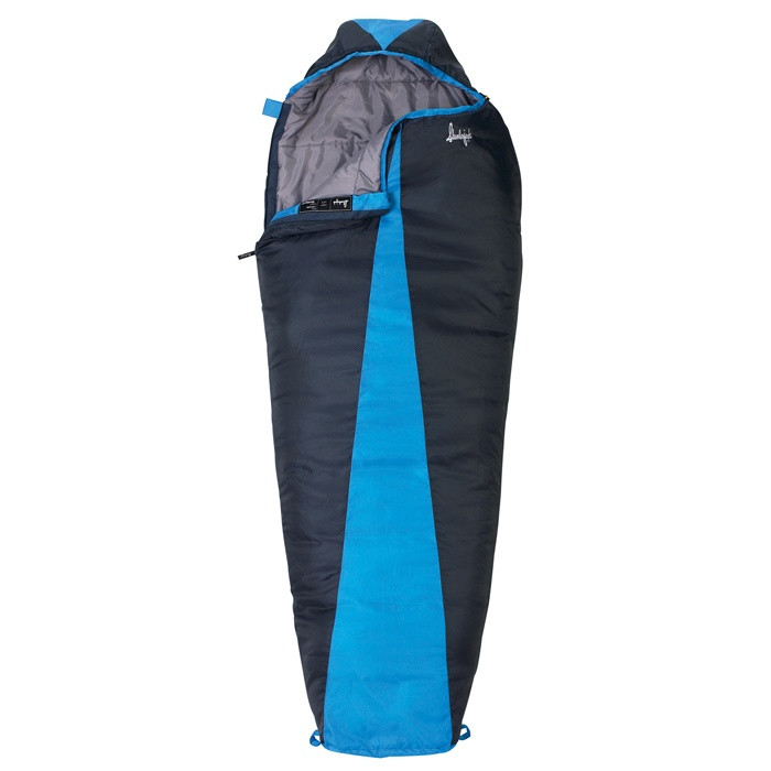 Slumberjack Latitude 40 Degree sleeping bag, dark blue with a lighter blue accent in center. Shown partially unzipped and open to reveal grey interior.