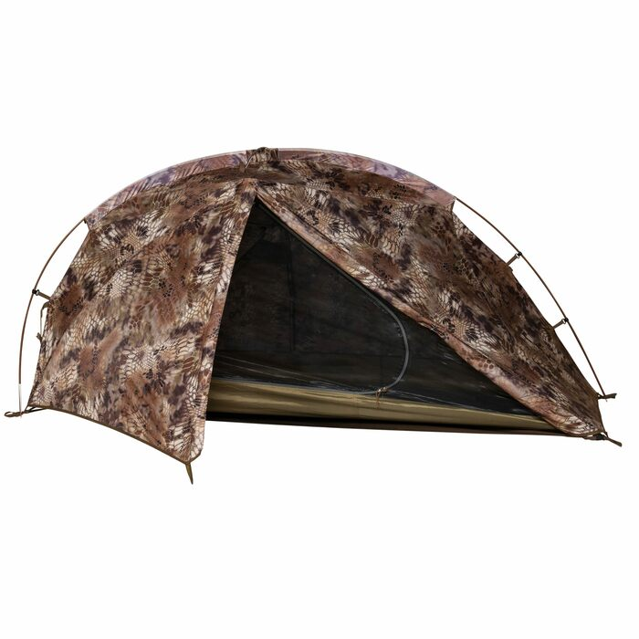 Highlander - SJK Nightfall 1 Person Tent, front view with fly open