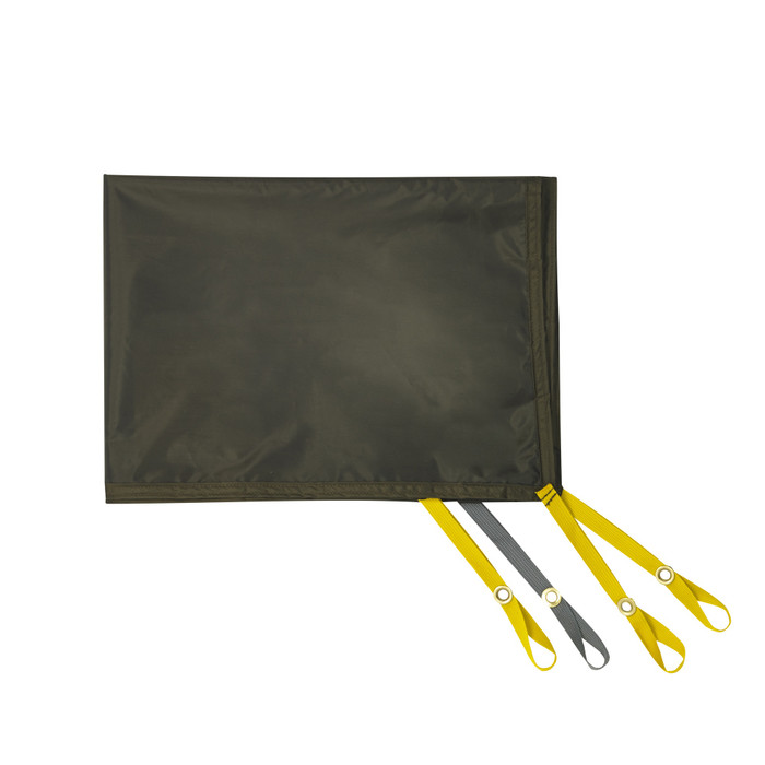 SJK Nightfall 1 tent footprint, shown with gray and yellow nylon attachment points