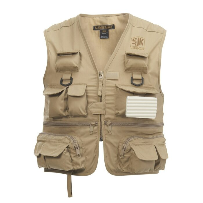 SJK Youth Lure 26 Pocket Fishing Vest, Khaki, front view