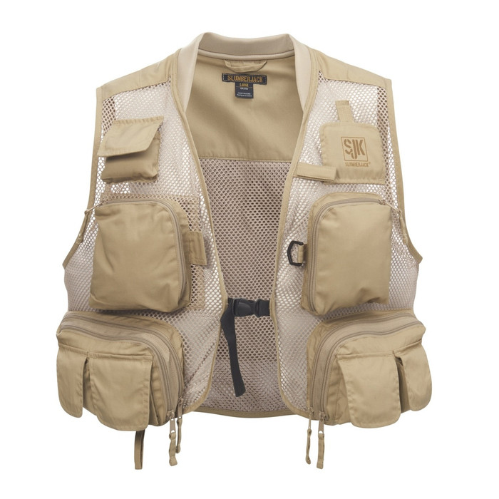 SJK Strike Fishing Vest, Khaki, front view