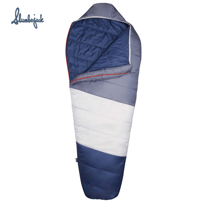 Slumberjack Sky Pond 40F Mummy Sleeping Bag, blue, front view, partially unzipped