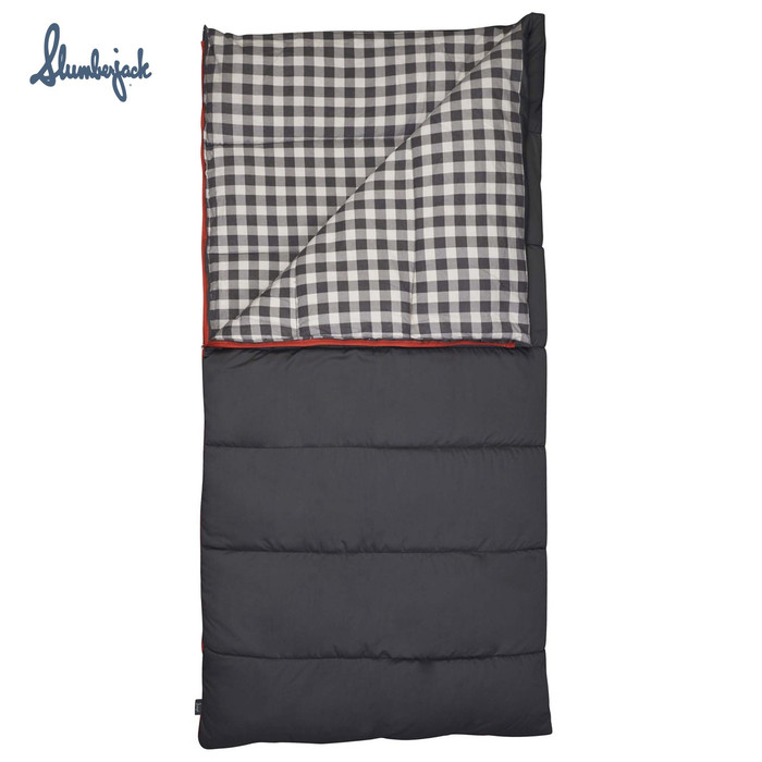 Slumberjack Grand Lake 20F Deluxe Sleeping Bag, gray, front view, partially unzipped