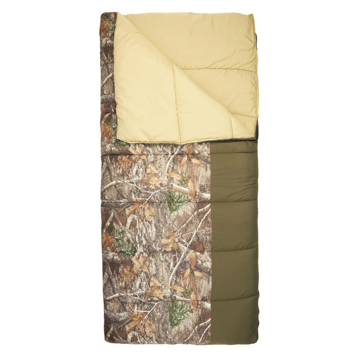 Realtree Edge - SJK Middle Fork 20/30 sleeping bag, camo, shown partially unzipped