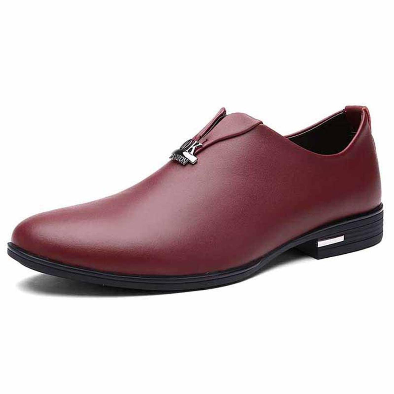 mens burgundy slip on dress shoes