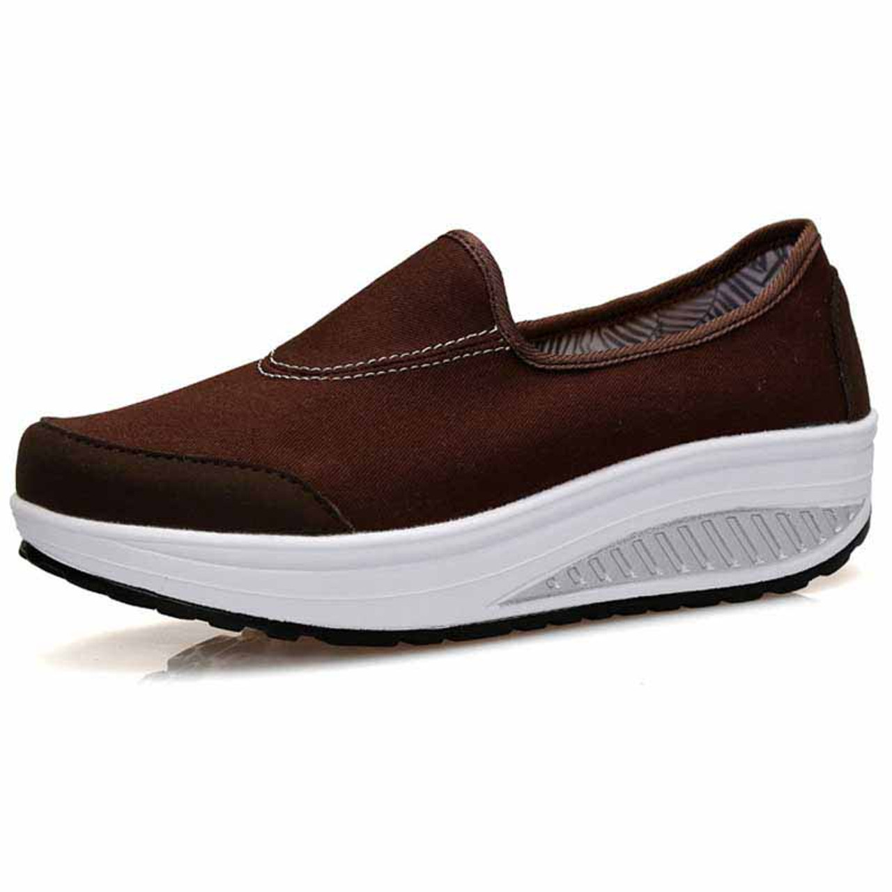 6108aa13787798 Brown canvas slip on rocker bottom shoe sneaker | Womens rocker ...