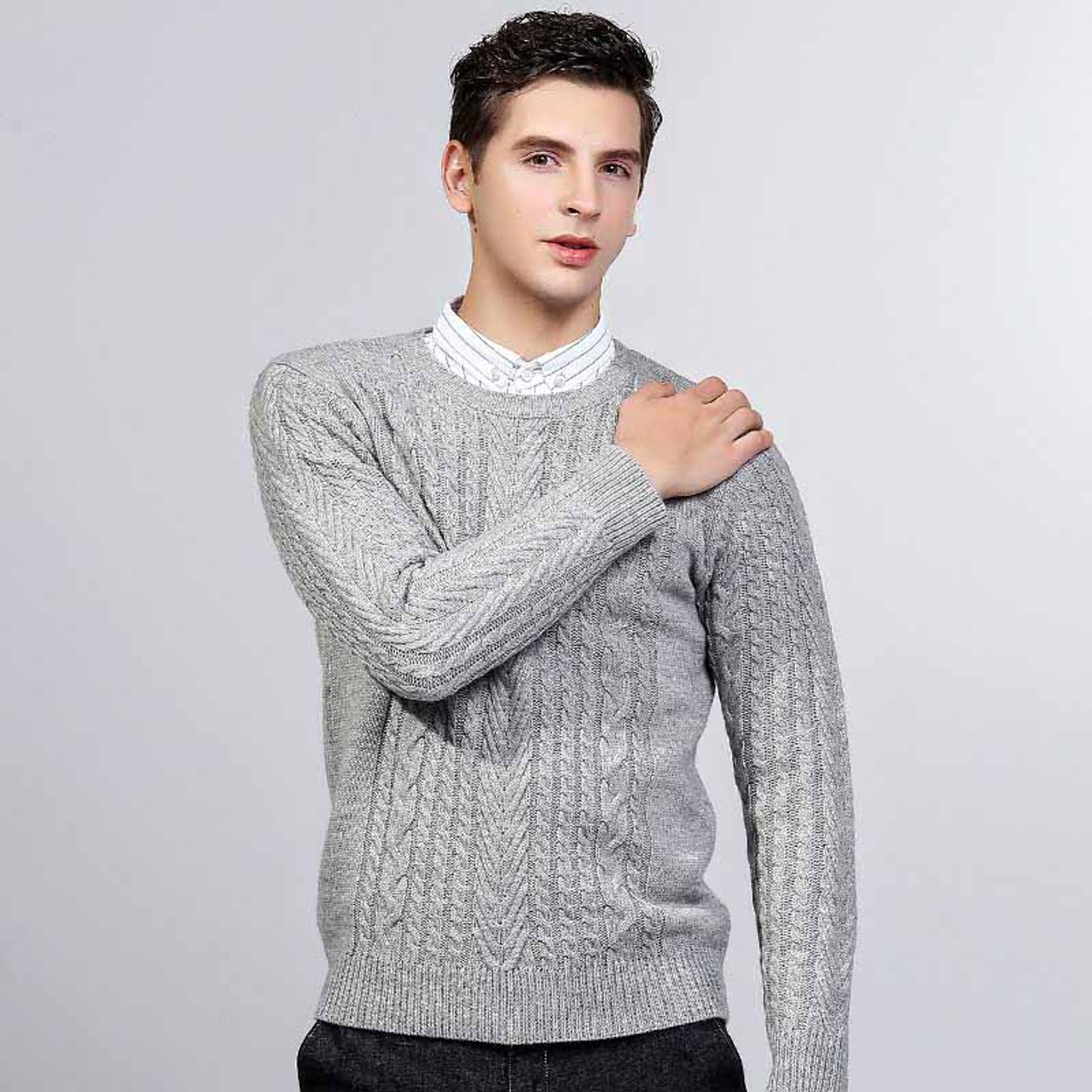 Grey knit pattern pull over long sleeve sweater