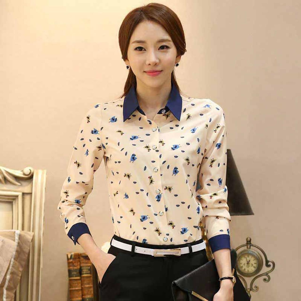 0e6e69b07efd5 Yellow animal print long sleeve button shirt | Womens tops shirts ...