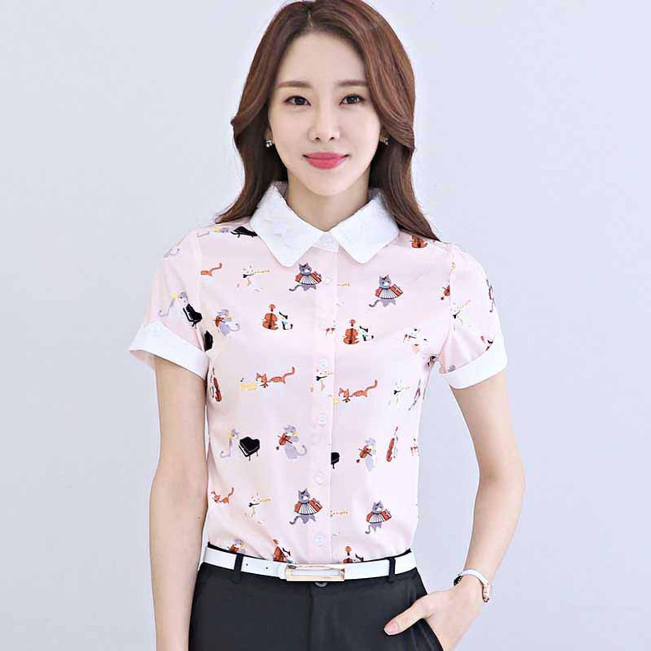 1e72256c5a15c Pink animal print rolled short sleeve shirt | Womens tops shirts ...