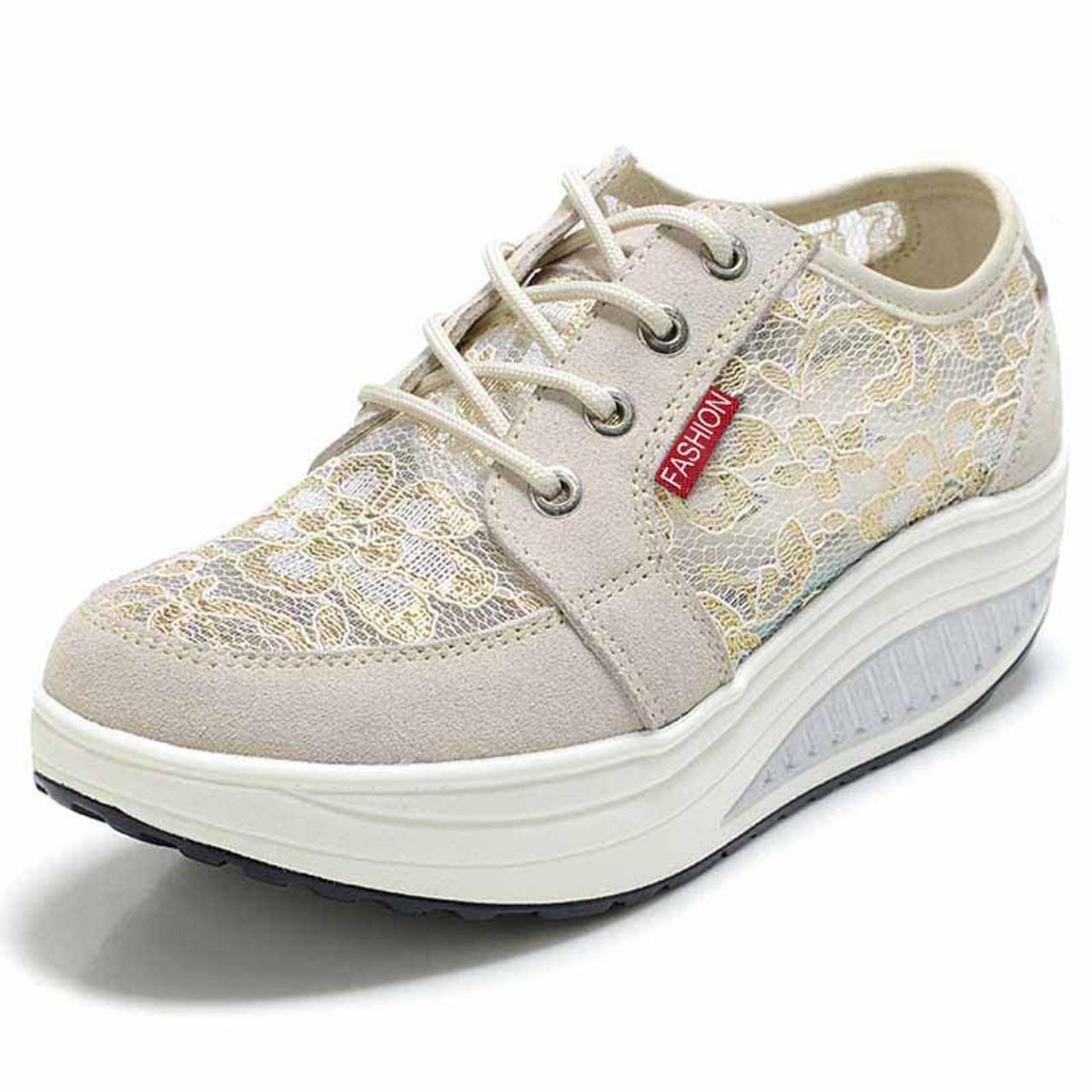 Beige floral lace rocker bottom shoe