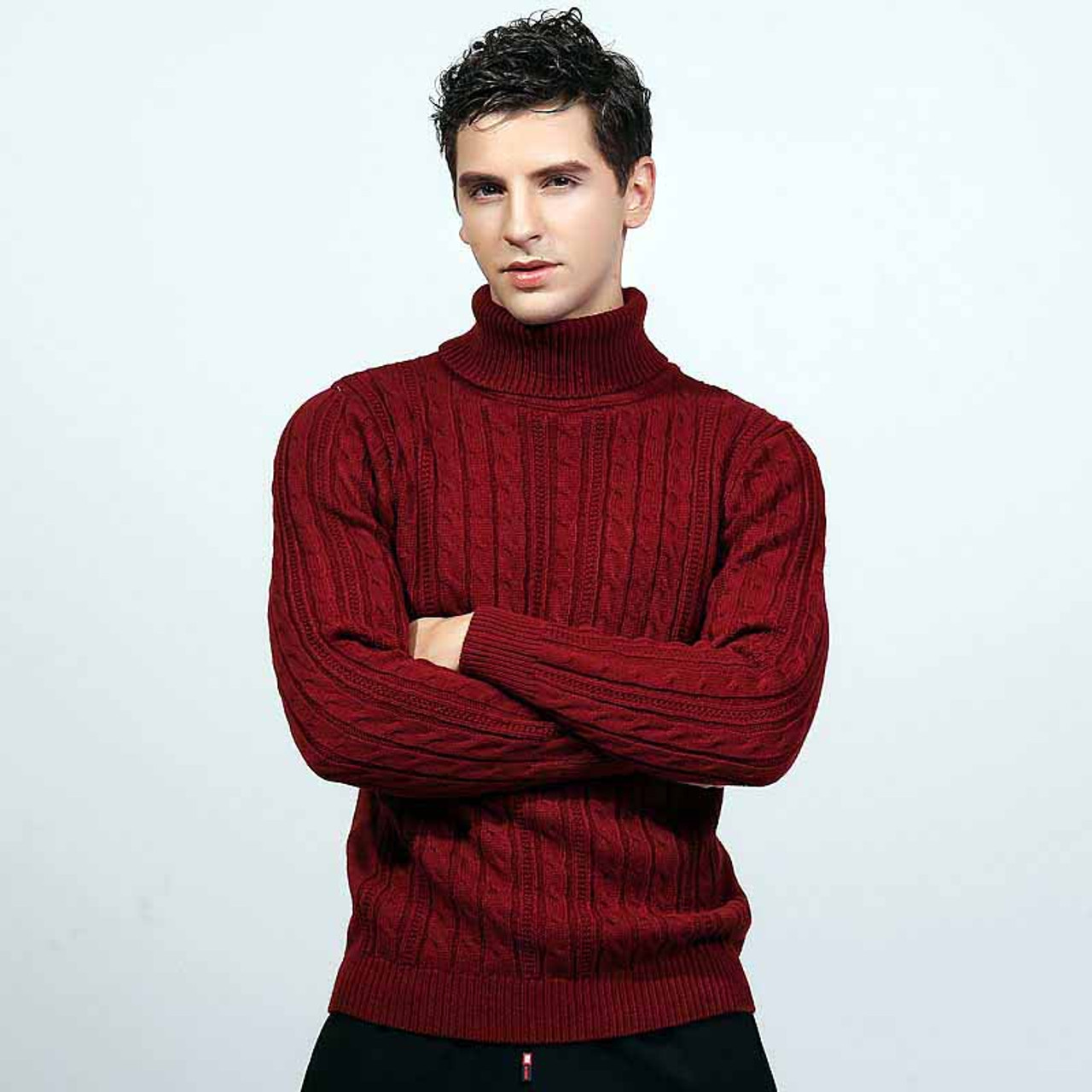 1e6fd6417ce Red knit pattern high neck long sleeve sweater