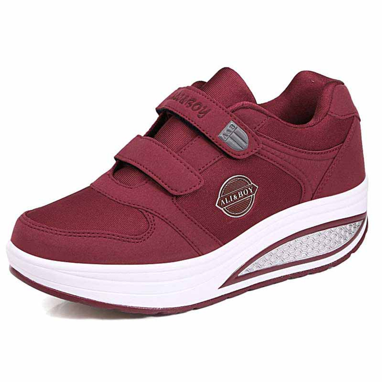 9b1f625cec9 Red double velcro rocker bottom shoe sneaker