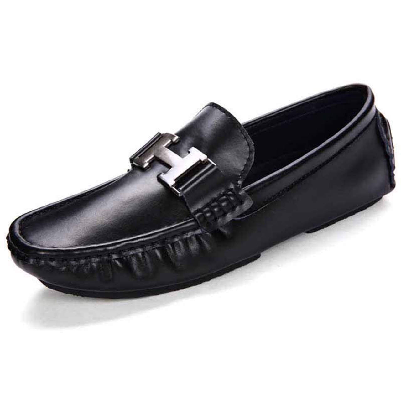 affordable price where can i buy buy best Black metal buckle leather slip on shoe loafer | Mens loafers ...