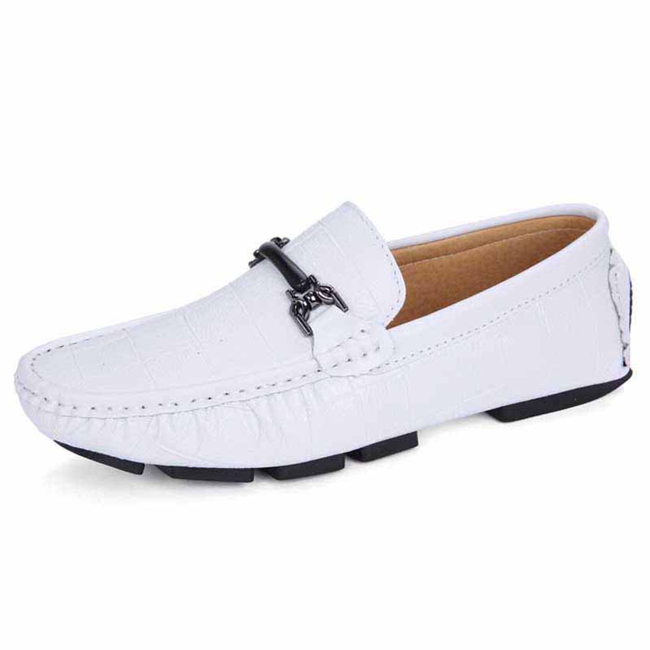 e6993ba8f4e01 White check buckle leather slip on shoe loafer 1406