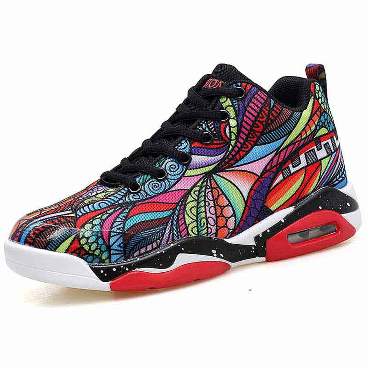 Red color floral pattern sport shoe