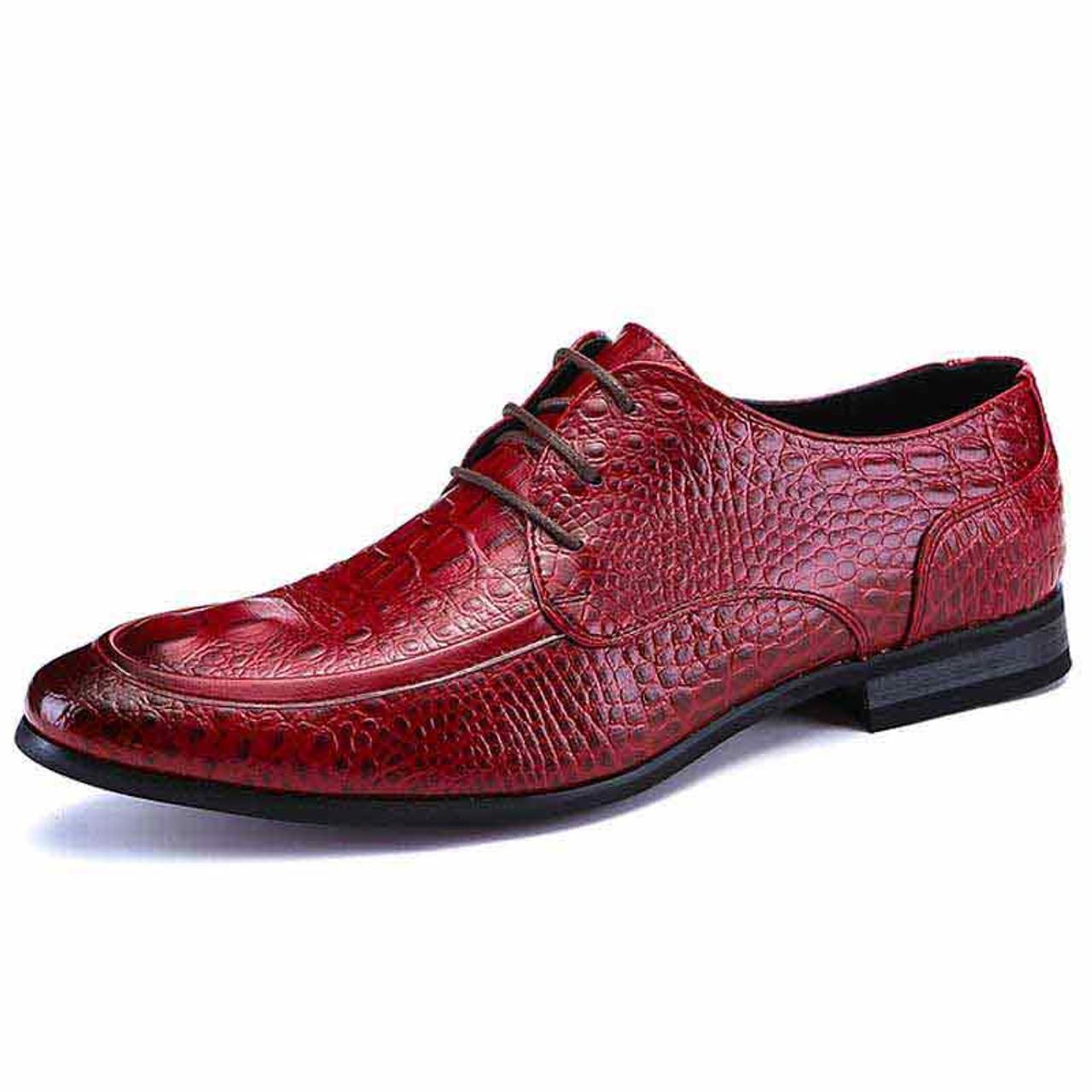 Red crocodile skin pattern derby dress