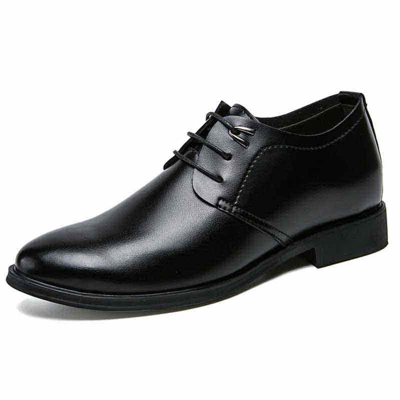 Black simple plain leather derby dress