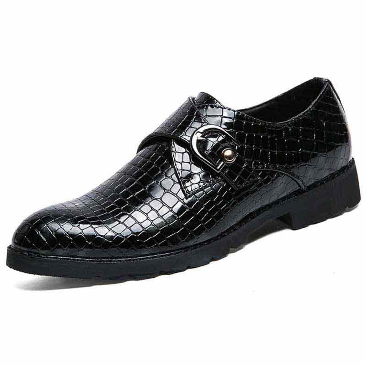 Black snake skin pattern monk strap