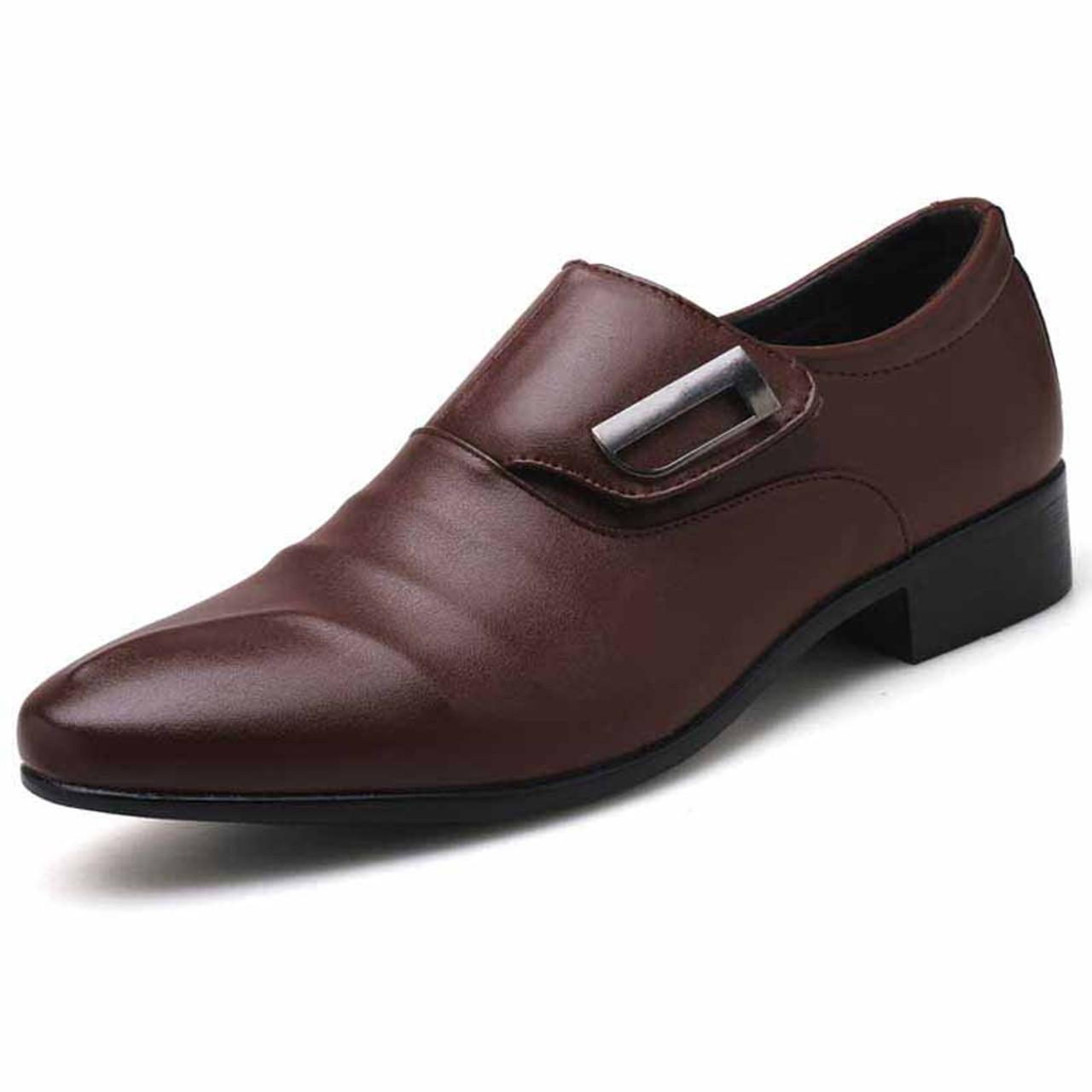 Brown pleated velcro buckle slip on