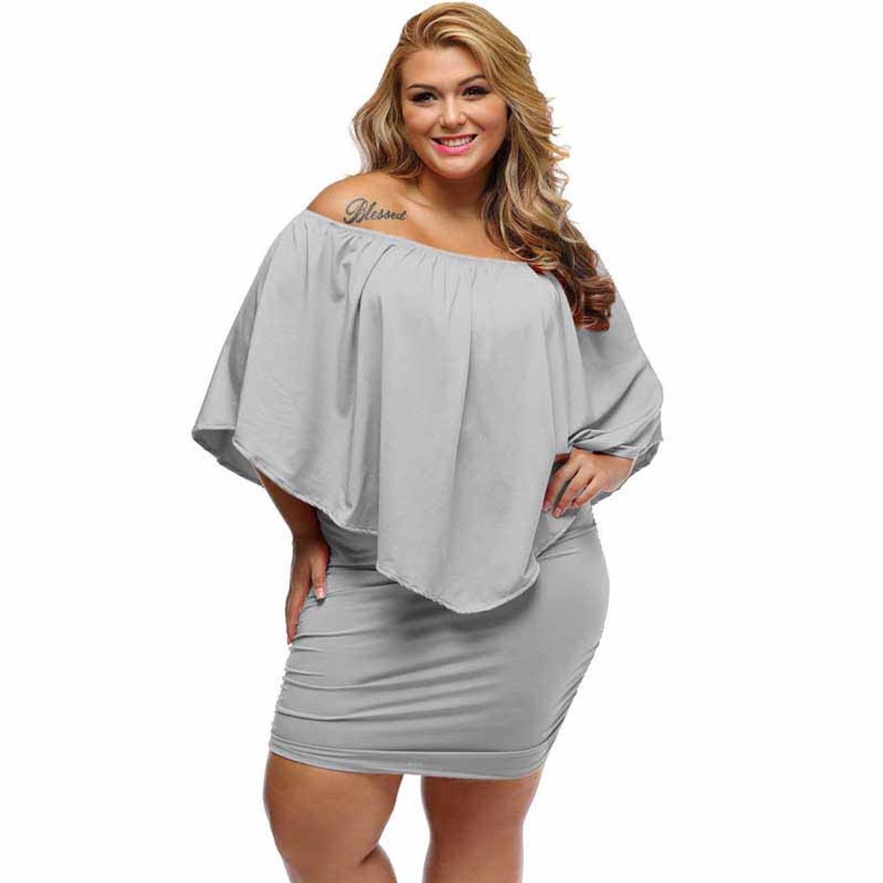 Grey multi layer off shoulder plus size mini dress
