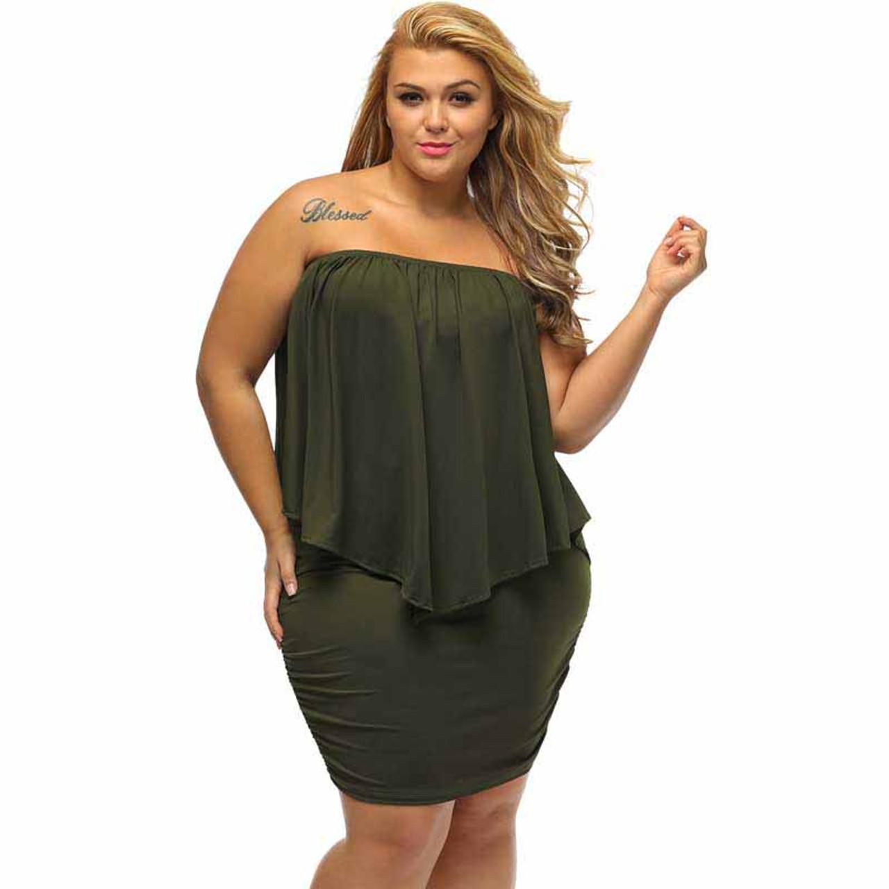 Green multi layer off shoulder plus size mini dress
