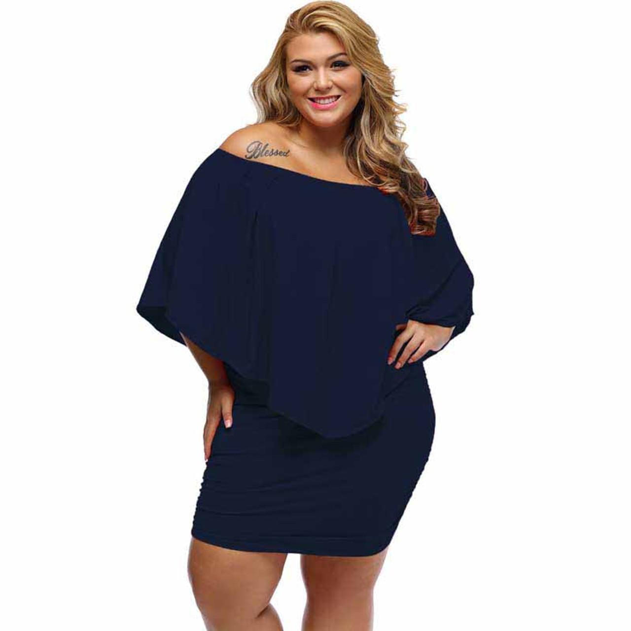 Navy multi layer off shoulder plus size mini dress