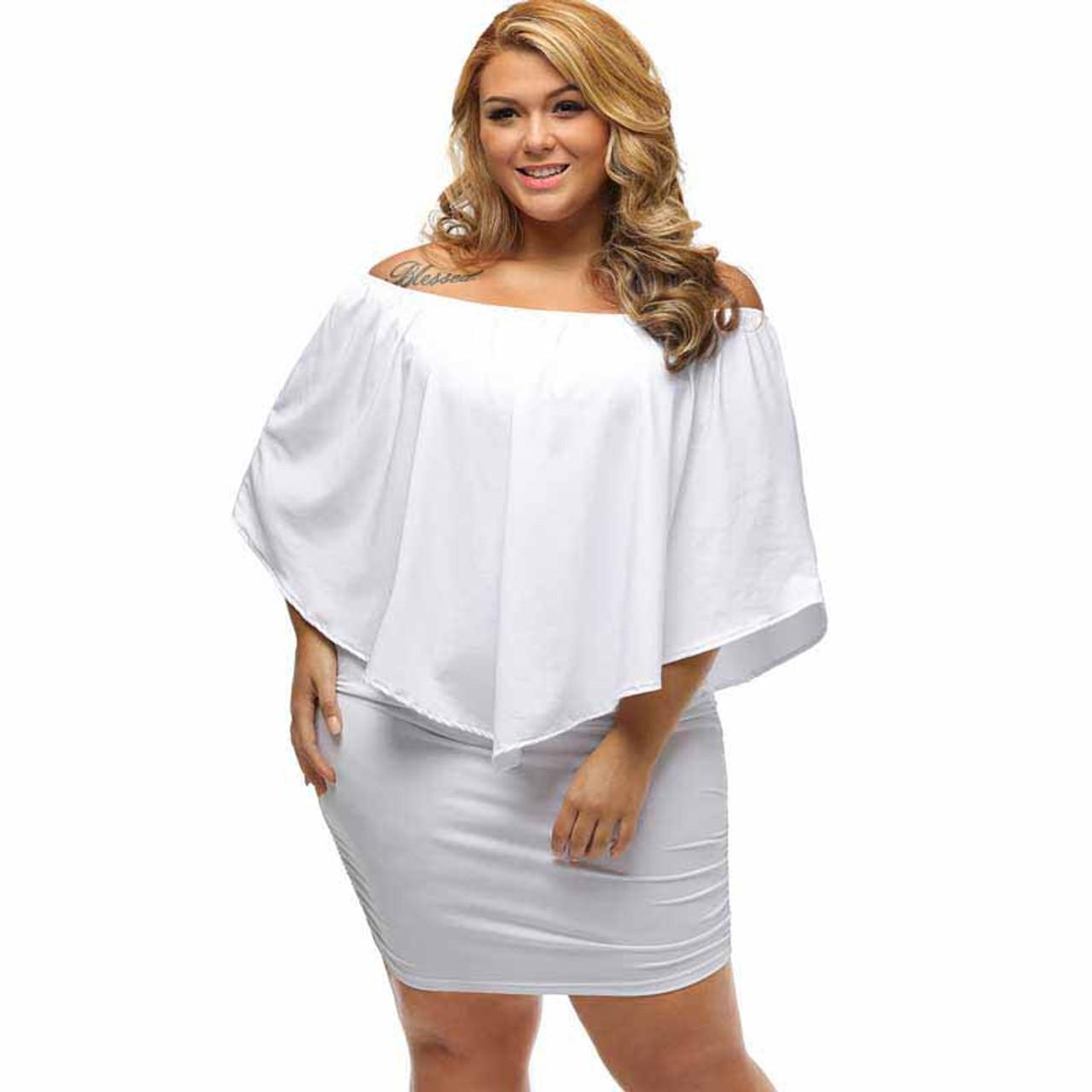 White multi layer off shoulder plus size mini dress
