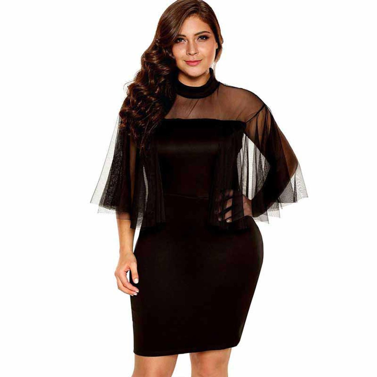 Black semi sheer tulle sleeve plus size mini dress