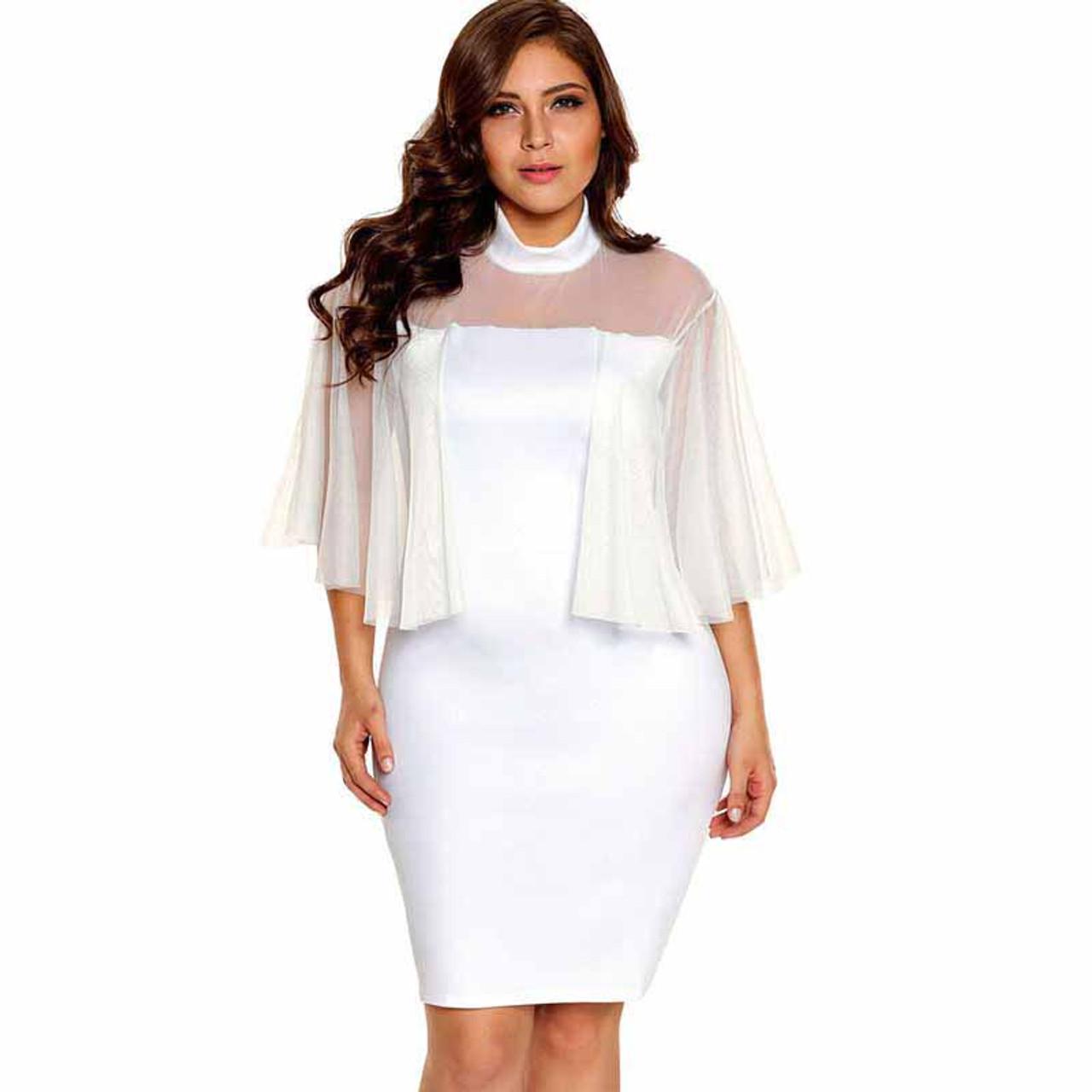 White semi sheer tulle sleeve plus size mini dress