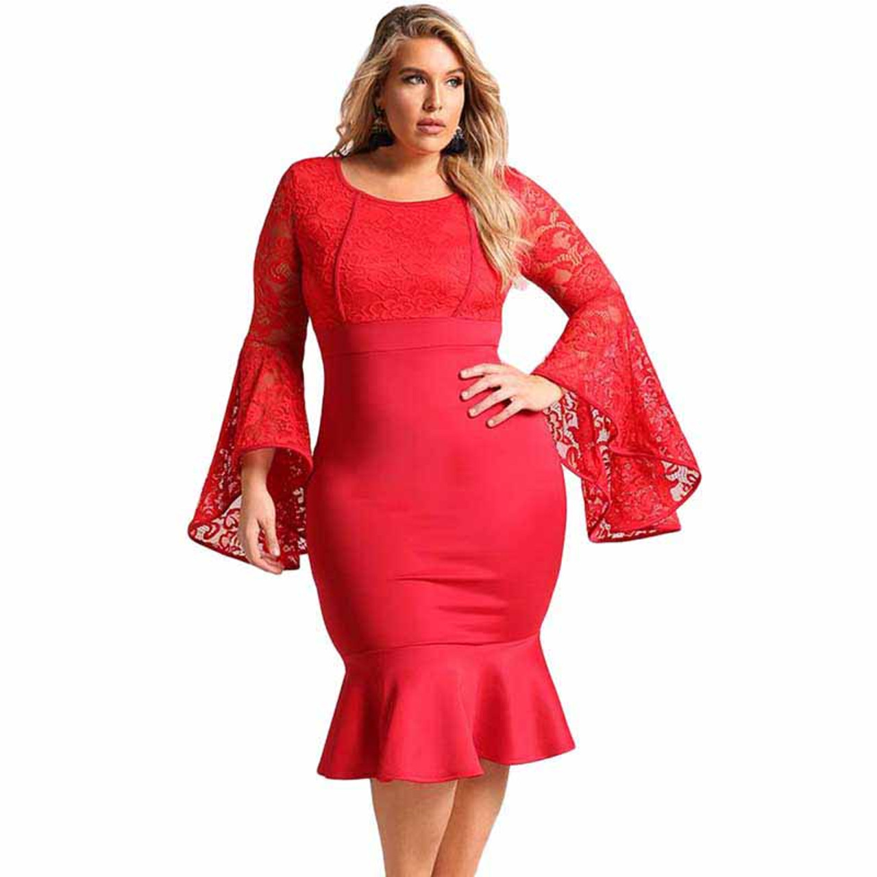 Red lace bell sleeve plus size midi dress in plain