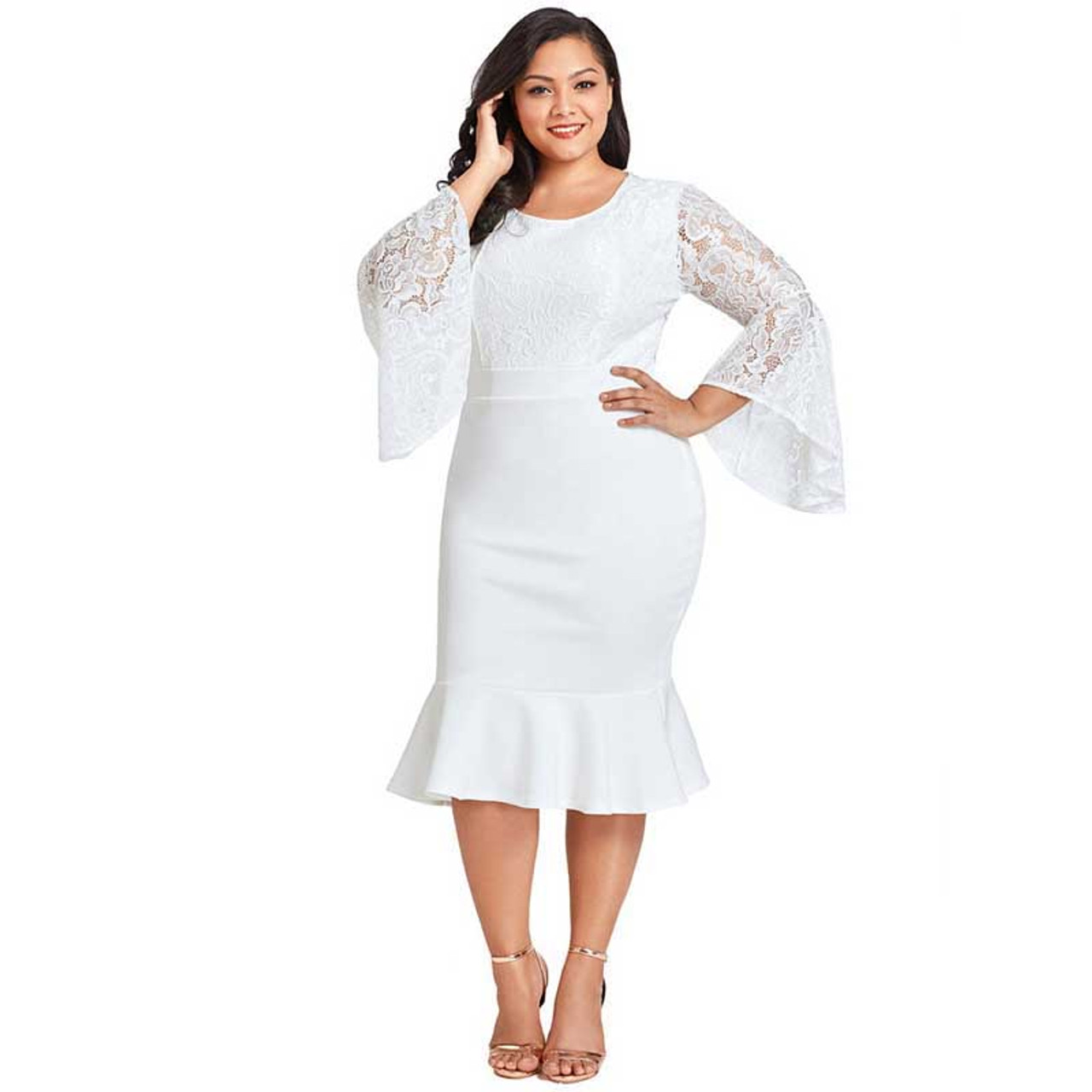 White lace bell sleeve plus size midi dress in plain | Womens plus ...