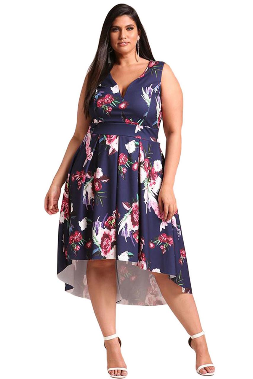Navy floral print V neck Hi-Lo plus size midi dress