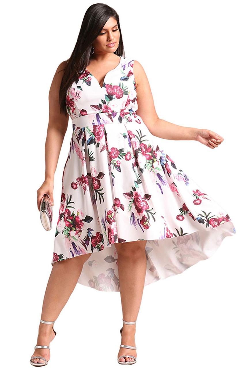 White floral print V neck Hi-Lo plus size midi dress