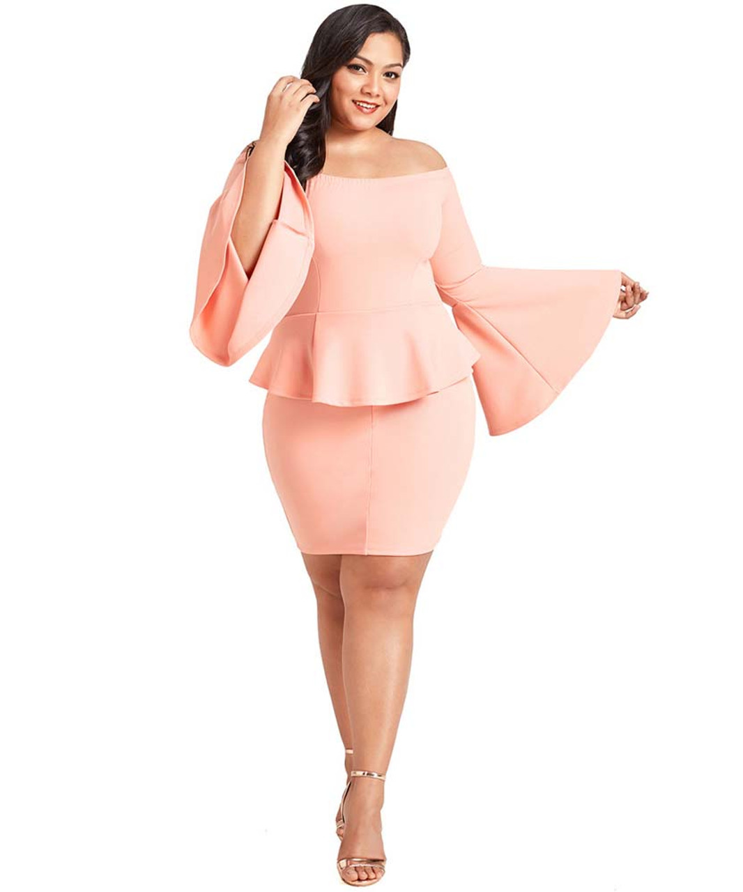 Pink off the shoulder bell plus size mini peplum dress