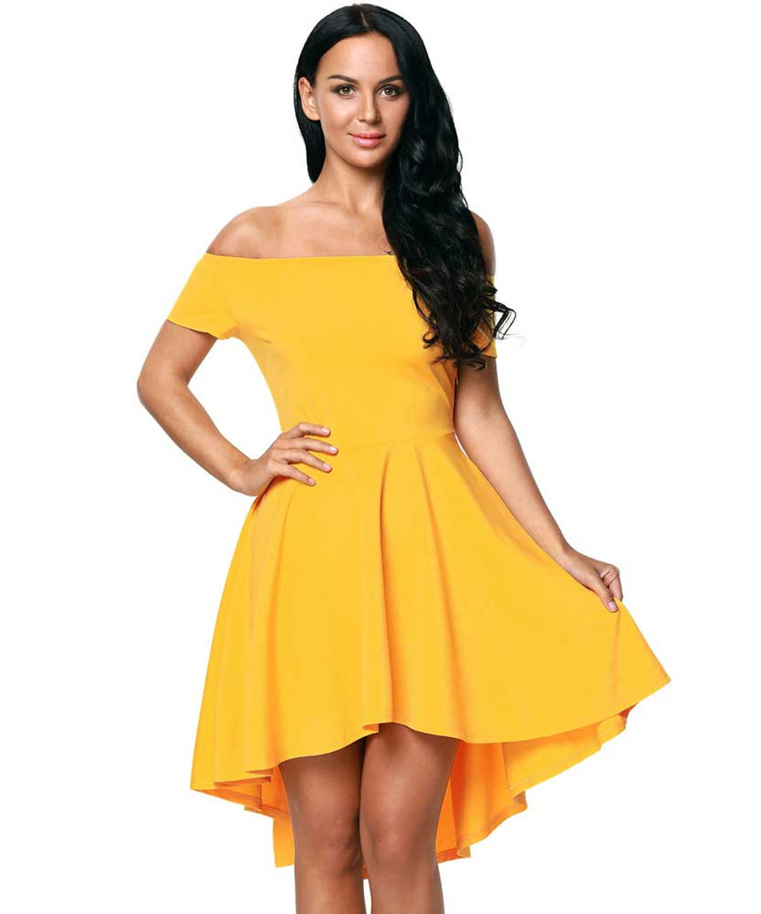 9a59aa105aed1 Yellow short front long back off the shoulder mini dress