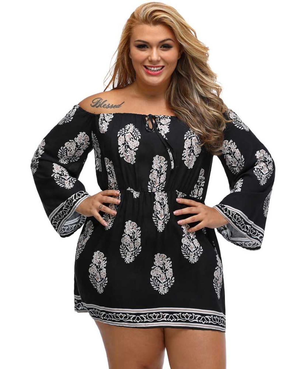 Black off the shoulder floral print plus size mini dress