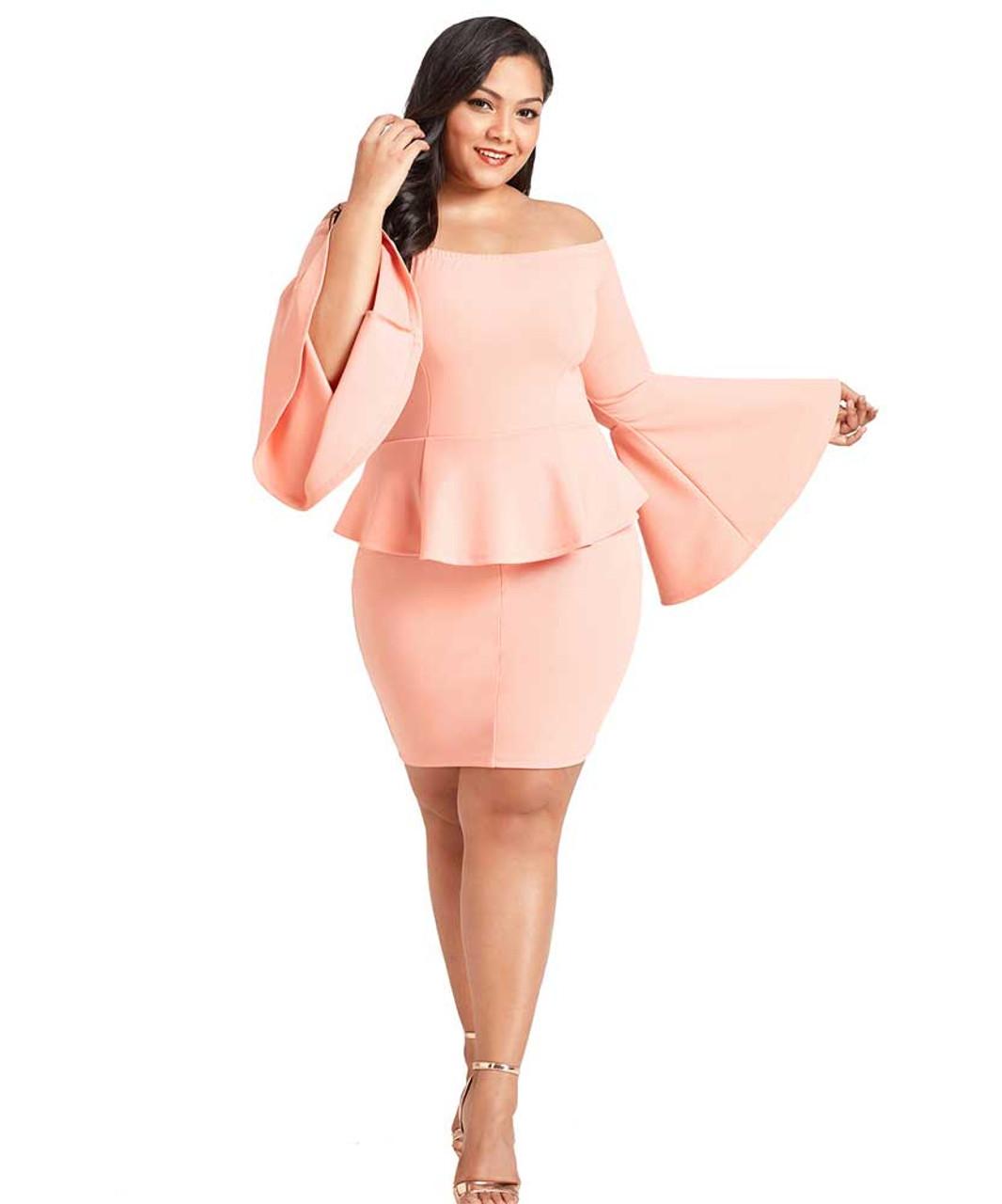 Pink off the shoulder peplum plus size mini dress